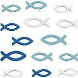FEPITO 108 piezas Decoraciones para peces Madera Peces Manualidades Decoraciones para el hogar, tamaño mixto