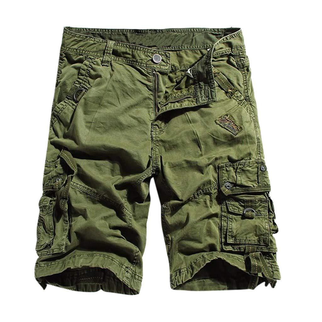 Men Shorts Cotton Twill Army Cargo Multi-Pocket Shorts Outdoor Wear Lightweight (L, Army Green) by Yihaojia Men Pants (Image #1)