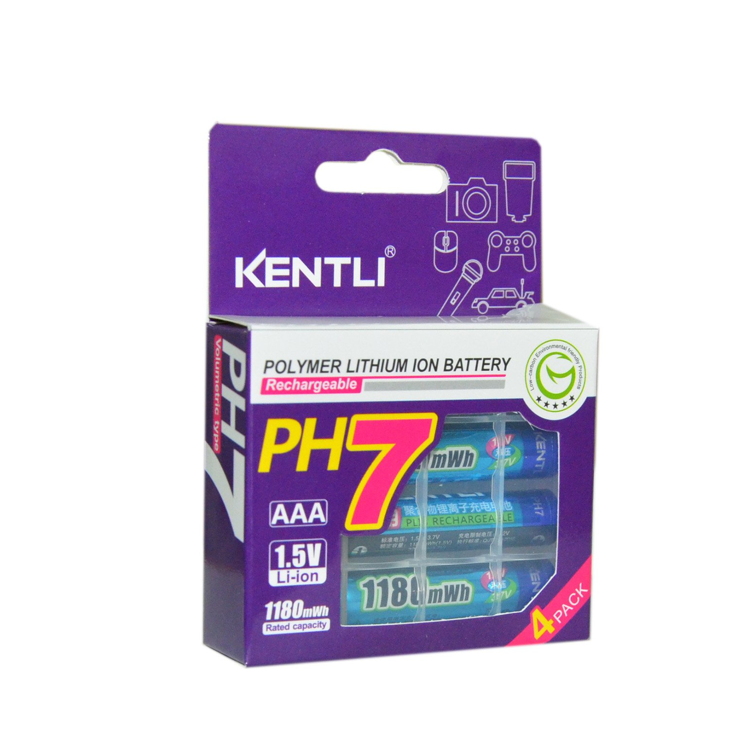 Amazon.com: KENTLI 1.5v AAA Rechargeable Battery 1180mAh ...