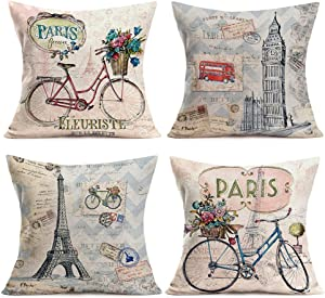 Smilyard Paris Eiffel Pillows Decorative Pillow Covers Vintage Bicycle with Color Flower Throw Pillow Case Cotton LinenFrench Decor Rustic Cushion Cover for Sofa Couch 18x18 Inch 4Pack(France Set)