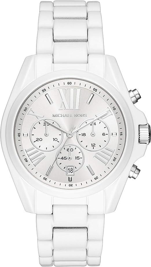 Michael Kors Women's Bradshaw Quartz Stainless Steel Strap, White, 20 Casual Watch (Model: MK6585)
