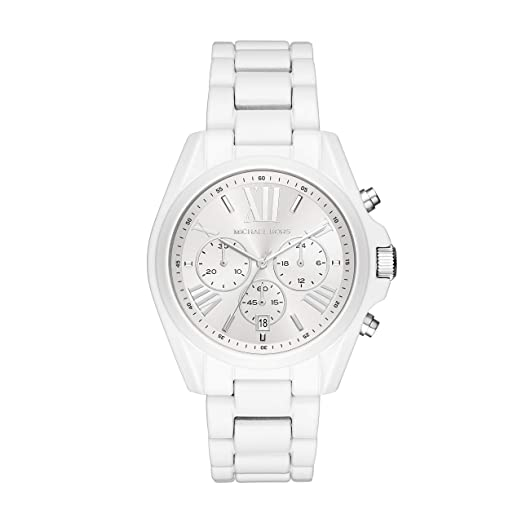 Michael Kors - Reloj de Pulsera para Mujer, con Revestimiento Blanco, Acero Inoxidable: Amazon.es: Relojes