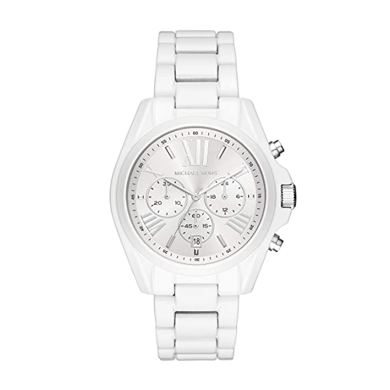 Michael Kors Womens Bradshaw Quartz Stainless-Steel Strap, White, 20 Casual Watch (Model: MK6585)