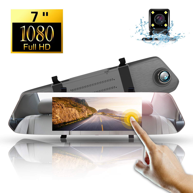 1080P Dash CAM Espejo Retrovisor,Directtyteam 7 Pulgadas Full HD Cámara para Coche Pantalla Táctil Coche Cámara Grabadora Visión Nocturna G-Sensor Cámara ...