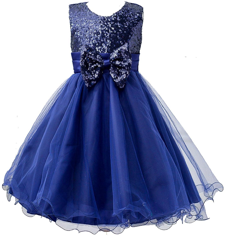 Vestido de fiesta con lentejuelas brillantes para niña Azul azul oscuro 5 años: Amazon.es: Ropa y accesorios