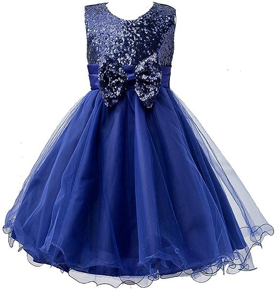 Vestido de fiesta con lentejuelas brillantes para niña Azul azul oscuro ...