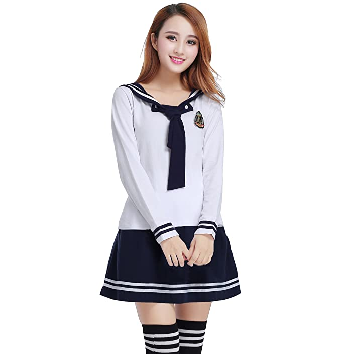 separation shoes ee3d6 67e02 Nuotuo Womens Japanese High School Uniform Sailor Pleated Skirt Outfit  (White+Blue,XXL) CC604F-XXL  Amazon.co.uk  Clothing