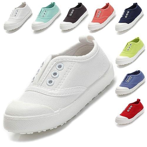 ba8d02679b4 Kikiz Candy Color Kids Toddler Canvas Sneaker Boys Girls Casual Shoes White  5 M US Toddler