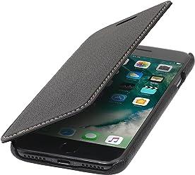 StilGut Book Type Case, Custodia a Libro Booklet Custodia Orizzontale, Cover Apertura Laterale in Vera Pelle per Apple iPhone 8