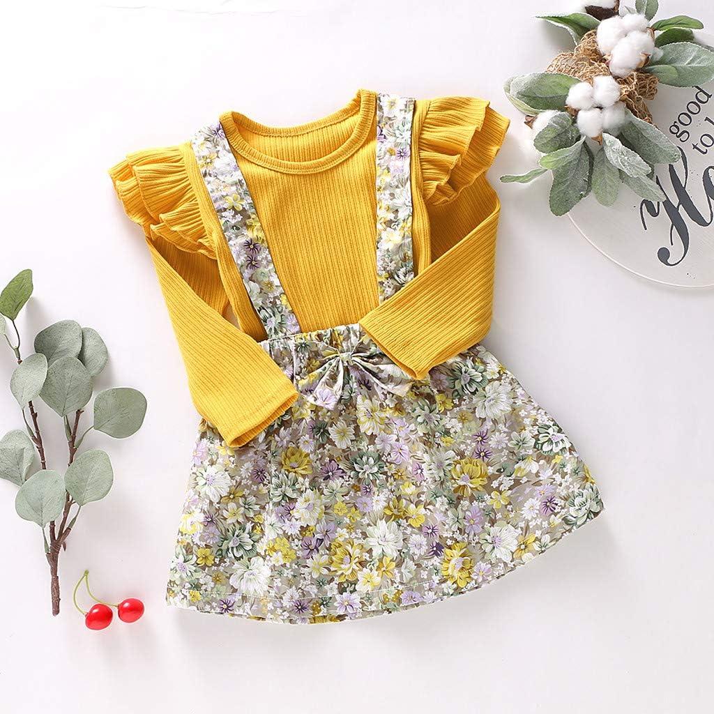 Realde Unisex Baby M/ädchen Jungen R/üschen Langarm Top Mini Kurz Kleid Set Sommerkleid Kleidung Elegant Blumendruc Partykleid Cocktailkleid Festlich Babybekleidung Abendkleid