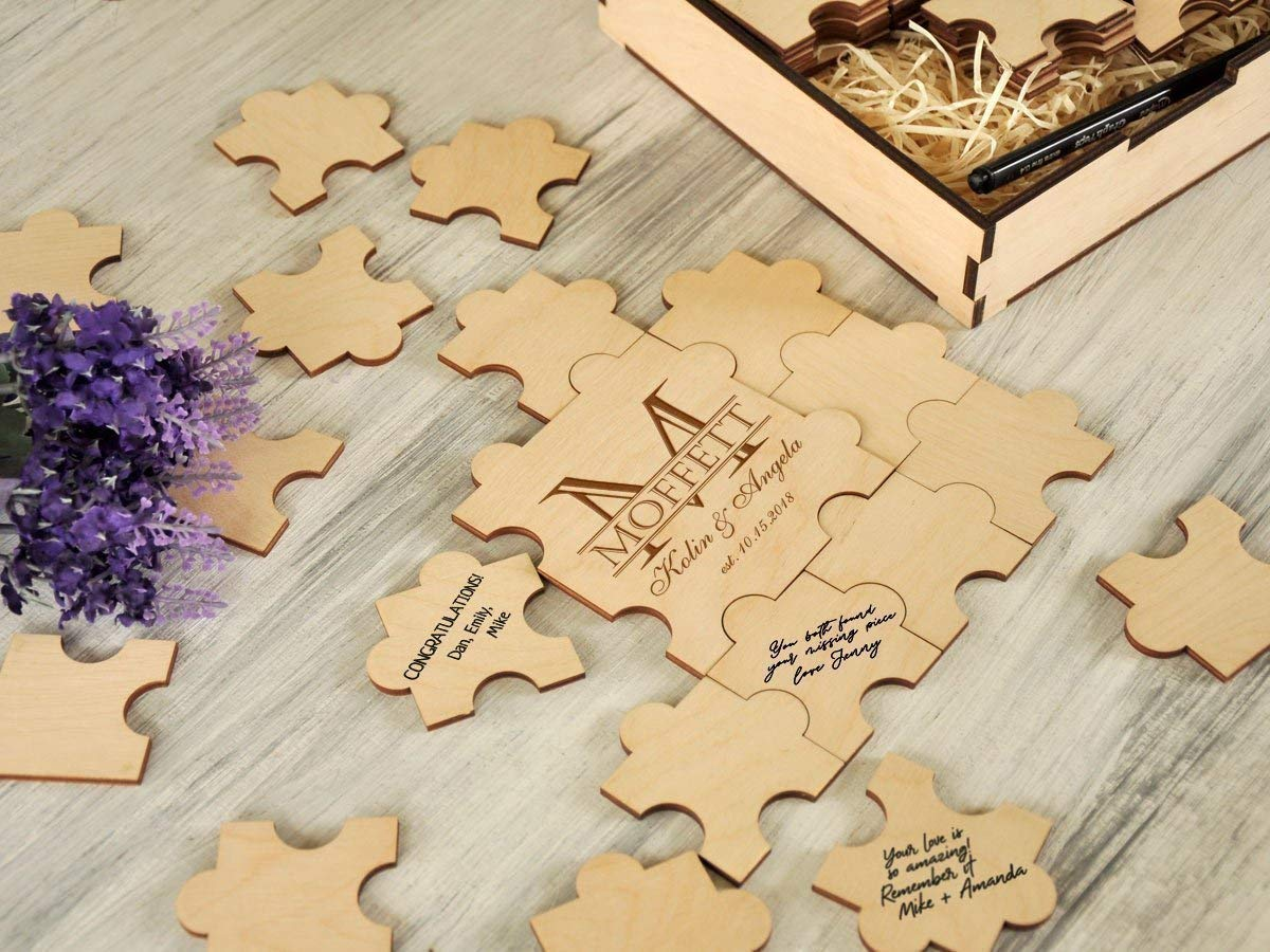 ecdeca5f97 ... Alternative Wedding Guest Book 20-236 pieces Wood Monogram Guestbook  Wedding Puzzles Guestbook Sign Custom ...