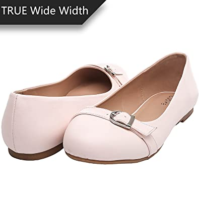 4124a1dfceb8 Luoika Women s Wide Width Flat Shoes - Comfortable Slip On Round Toe Ballet  Flats(PinkPU