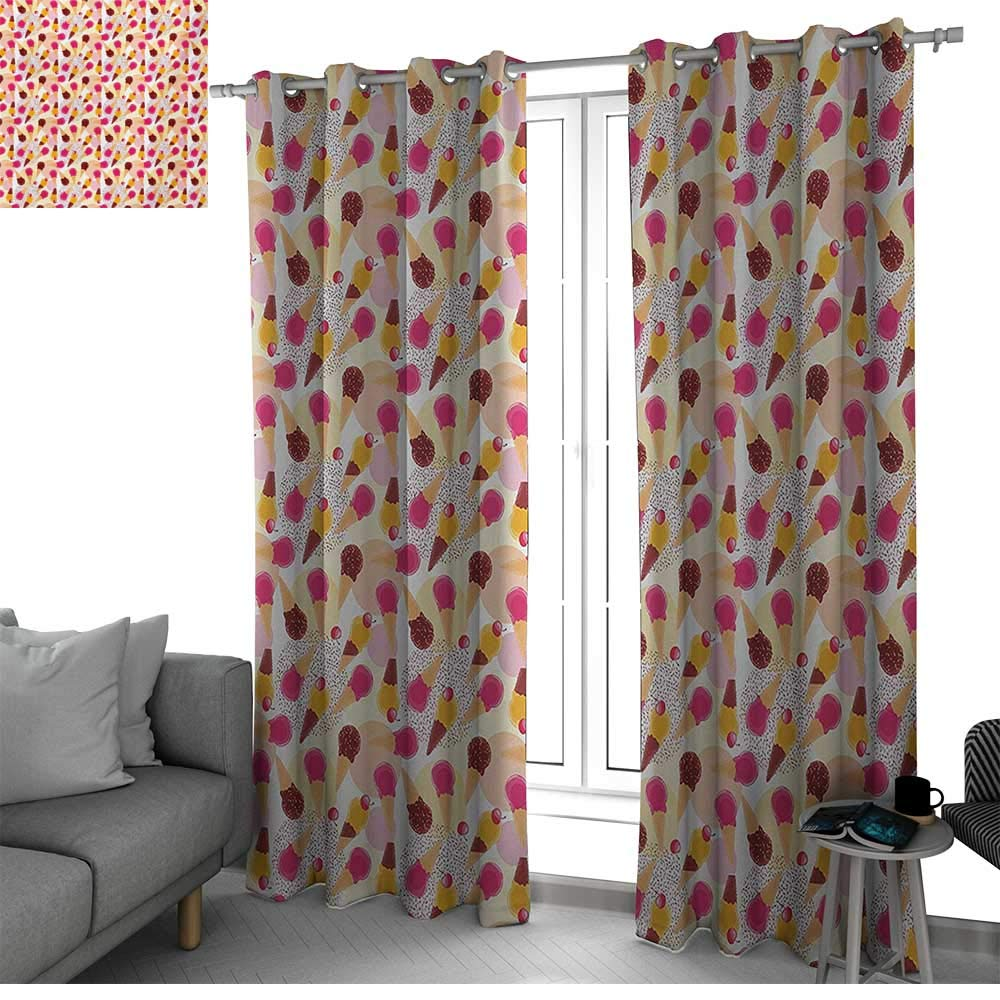 bybyhome Ice Cream Curtains for Bedroom/Living Room Curtain Sweet Taste of Summer Theme Chocolate and Fruity Flavor Cherries Circle Sprinkles Curtains for Living Room Multicolor W84 x L84 Inch