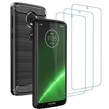 ivoler Funda para Motorola Moto G7 / G7 Plus + 3 Unidades Cristal Templado, Fibra de Carbono Negro TPU Suave de Silicona [Carcasa + Vidrio Templado] ...