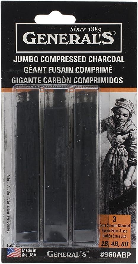 4 Sets Black 3-Pack General Pencil Jumbo Compressed Charcoal Sticks