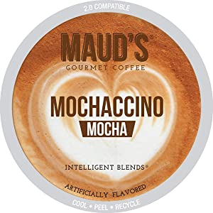 Maud's Mocha Cappuccino Coffee (Mochaccino), 50ct. Recyclable Single Serve Dark Roast Espresso Coffee Pods – 100% Arabica Coffee California Roasted, Keurig Mocha Cappuccino K Cups Compatible
