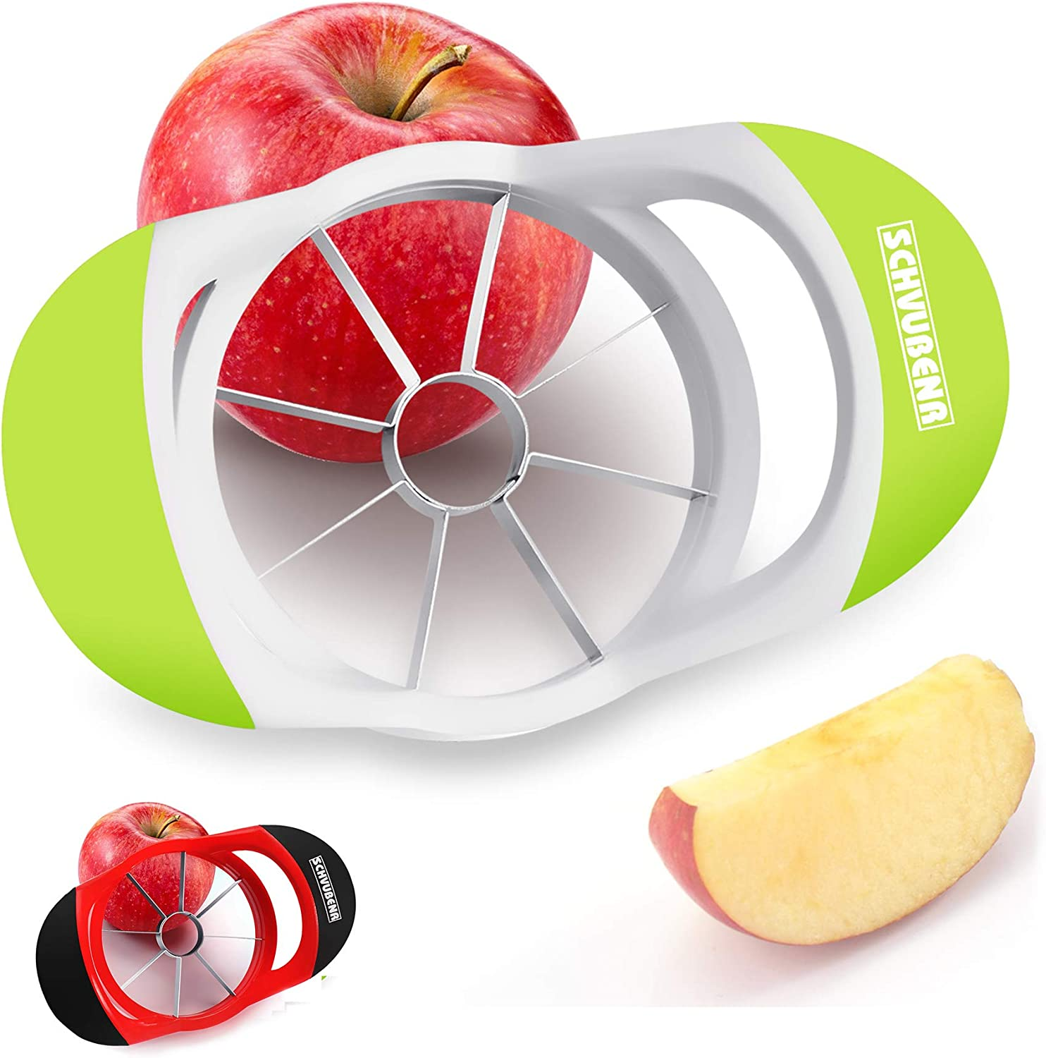 SCHVUBENR 3.5 Inch Apple Slicer - Professional Apple Cutter - Stainless Steel Apple Corer - Super Sharp Apple Slicer and Corer - Apple Corer Tool with 8 Sharp Blades(Green)