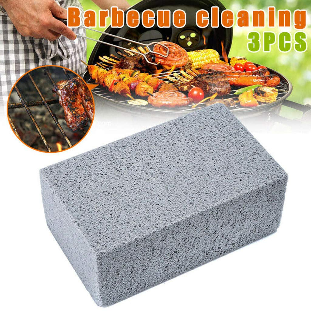 m·kvfa 3pcs Grill Cleaning Brick Block, Reusable BBQ Grill Brick Griddle Cleaner Barbecue Cleaning Stone for Kitchen,BBQ Grills, Racks, Flat Top Cookers