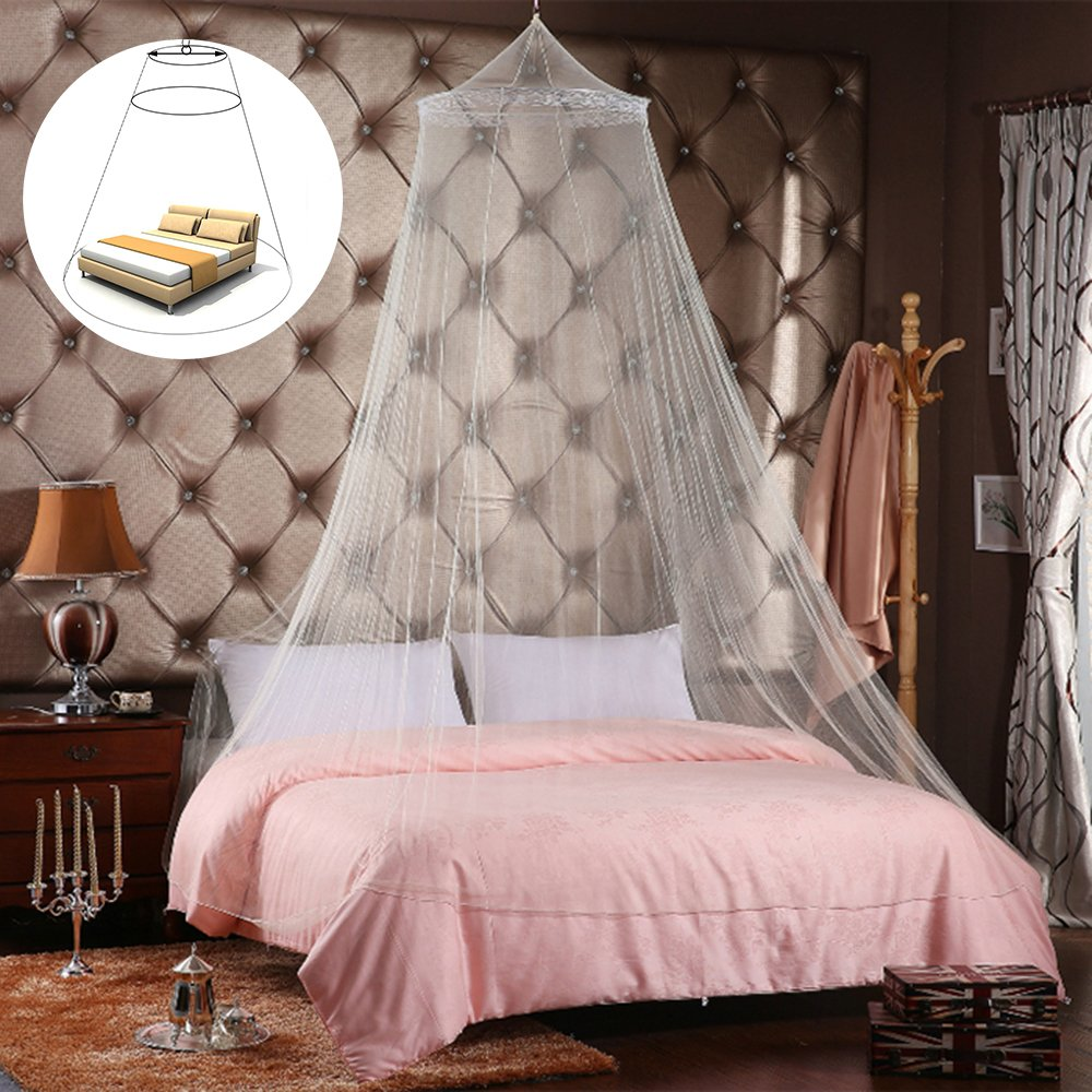 Happyyous Luxury Mosquito Net, Bed Netting Canopy for Single to King Size Beds, Dome Lace Curtains Net,White, Round for Girls, Toddlers & Adults Or Over Baby Crib