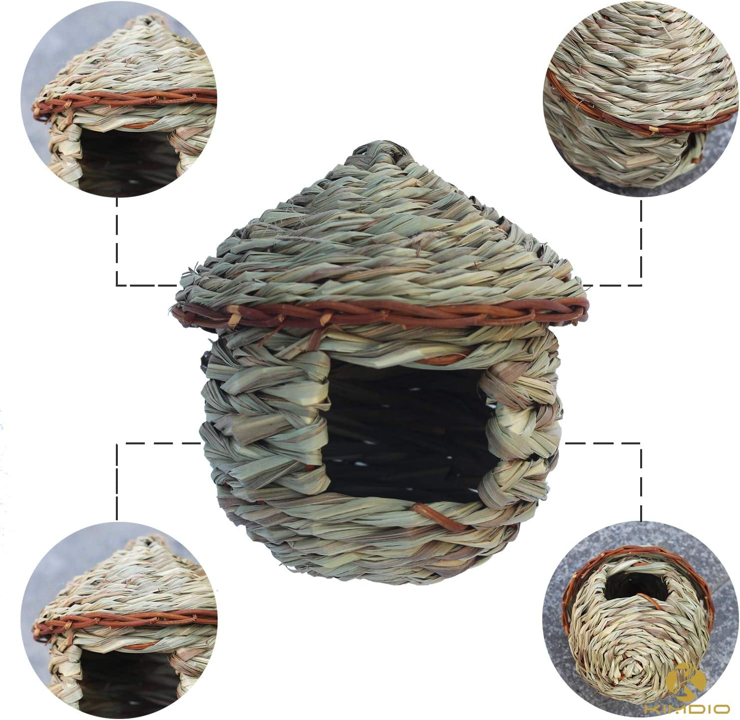 Amazon Com Kimdio Bird House Winter Bird House For Outside Hanging Grass Handwoven Bird Nest Hummingbird House Natural Bird Hut Outdoor Birdhouse For Kids Songbirds House A House Garden Outdoor
