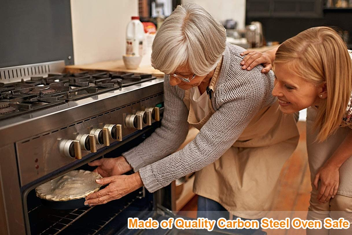 Nonstick Round Baking Cake Pan 5.5 Inch 4 PCS ForTomorrow Mini Quiche Pie Pans Stainless Steel Tart Pan 1 Inch Deep for Baking Black