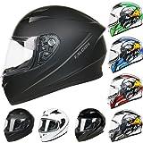 Leopard LEO-817 Full Face Motorcycle Motorbike Helmet ECER 22.05#1 Matt Black M (57-58cm)