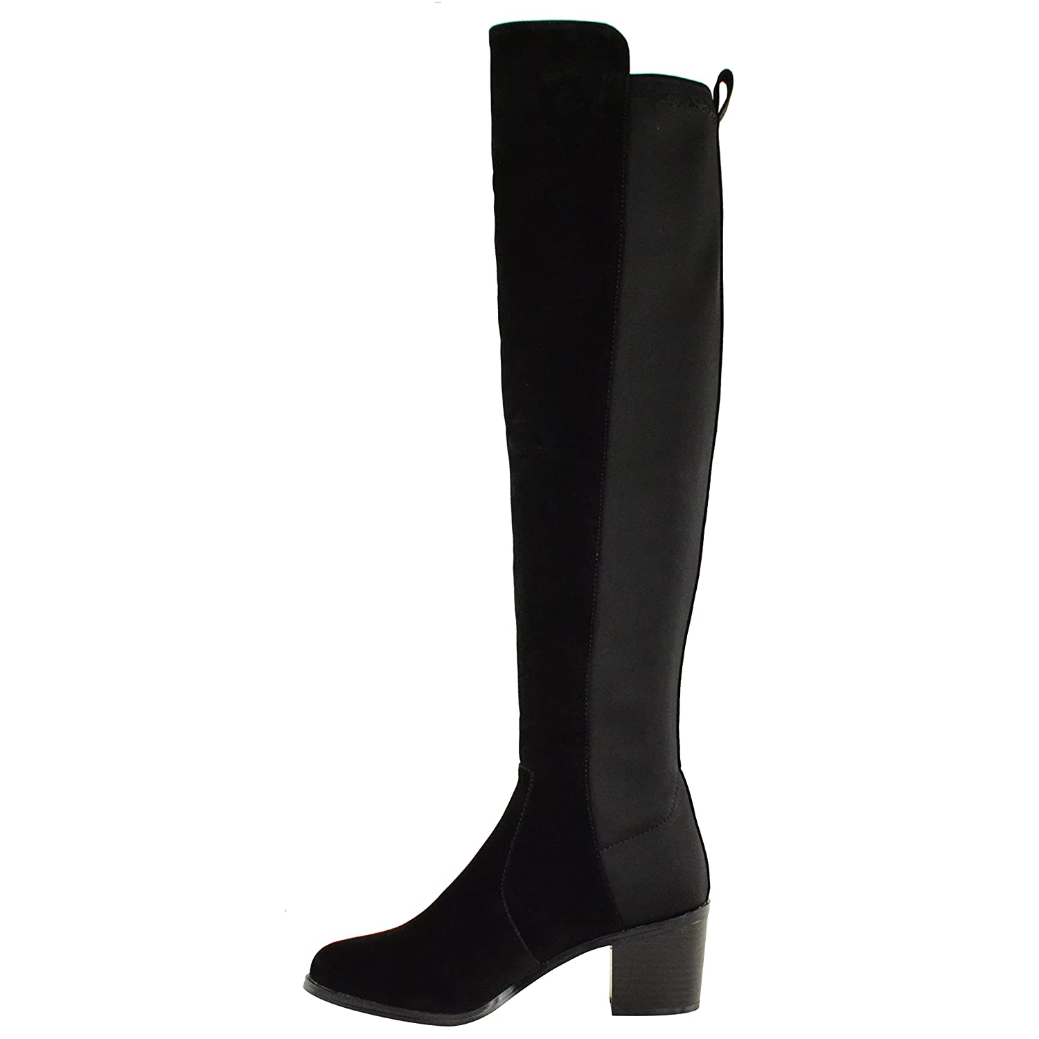 WOMENS LADIES OVER THE KNEE THIGH HIGH STRETCH PULL ON LOW MID HEEL BOOTS  SHOES: Amazon.co.uk: Shoes & Bags