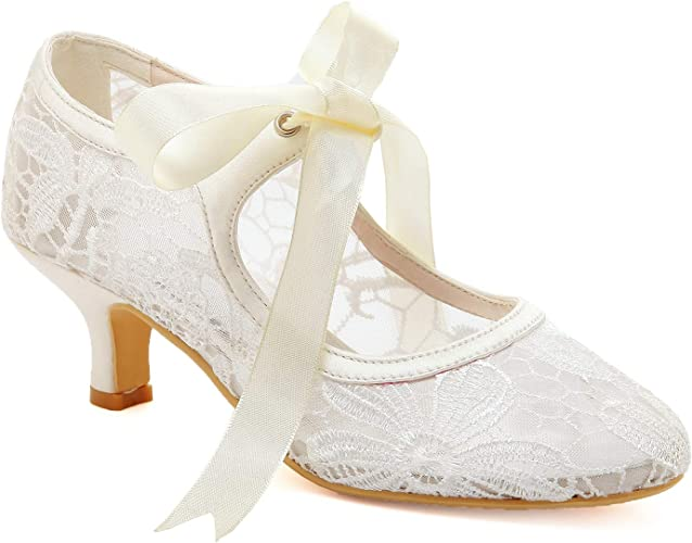 WOMENS MID LOW KITTEN HEEL MARY JANE STYLE WEDDING BRIDAL COURT SHOES SIZE 4 37