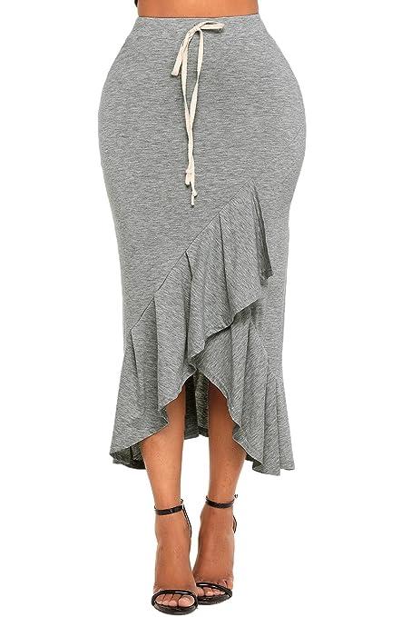 Cintura elástica de color gris con cordón de volantes, falda maxi, para fiestas,