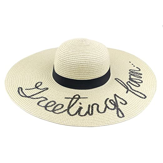 51bb5fbae68 Sawick Women Men Summer Wide Brim Acrylic Cap Unisex Panama Hat at Amazon  Men s Clothing store