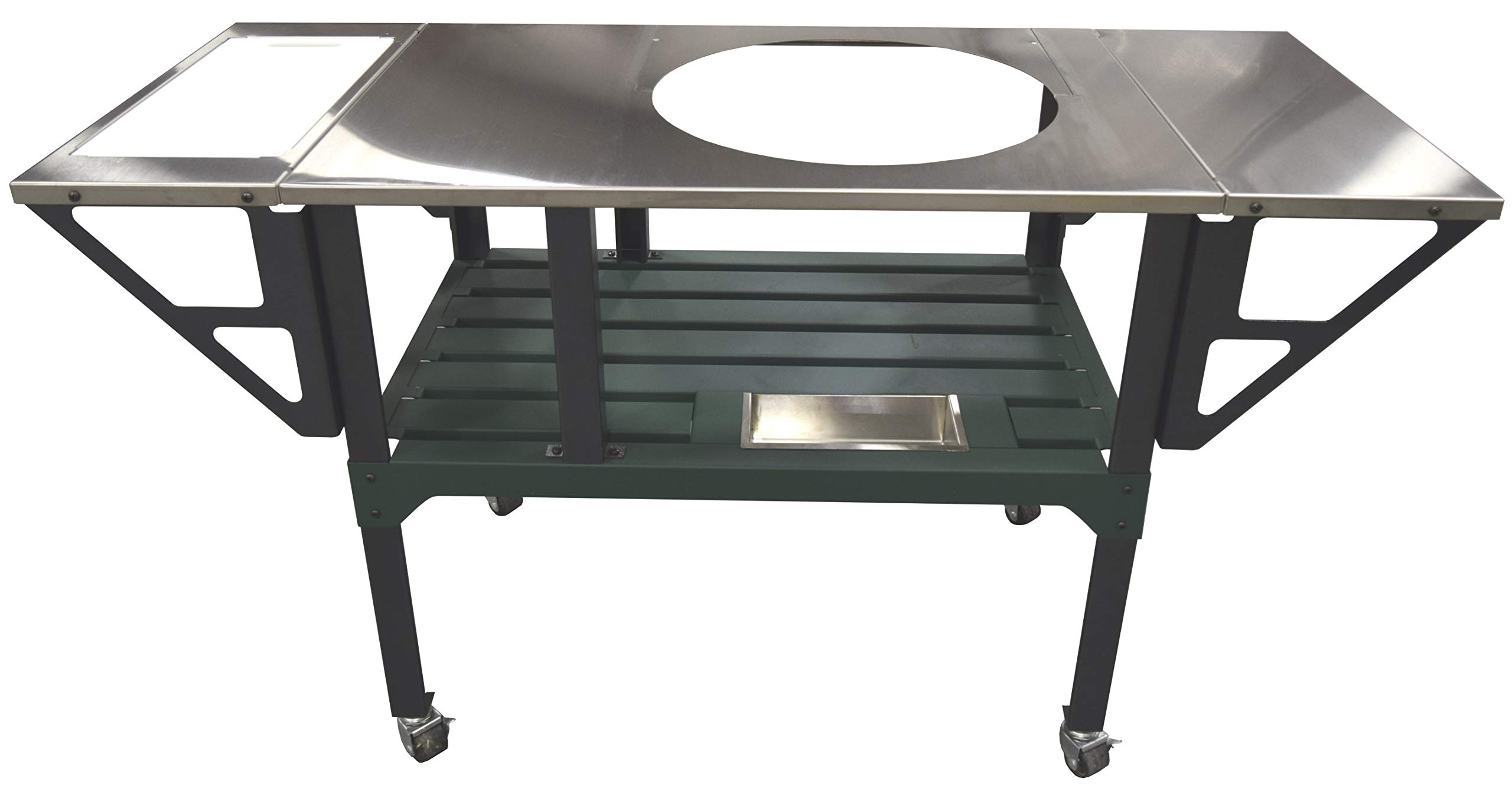 RMP Deluxe Universal Steel Grill Cart for Round Ceramic Grill, Fits a Large Big Green Egg Grill, Stainless Steel Finish Table Top, with Rotating and Locking Wheels