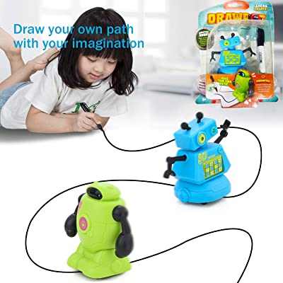 PintreeLand Magic Inductive Robot Toy Follow Black Line Robot Eye with LED Light Educational Toys for Kids Children: Toys & Games