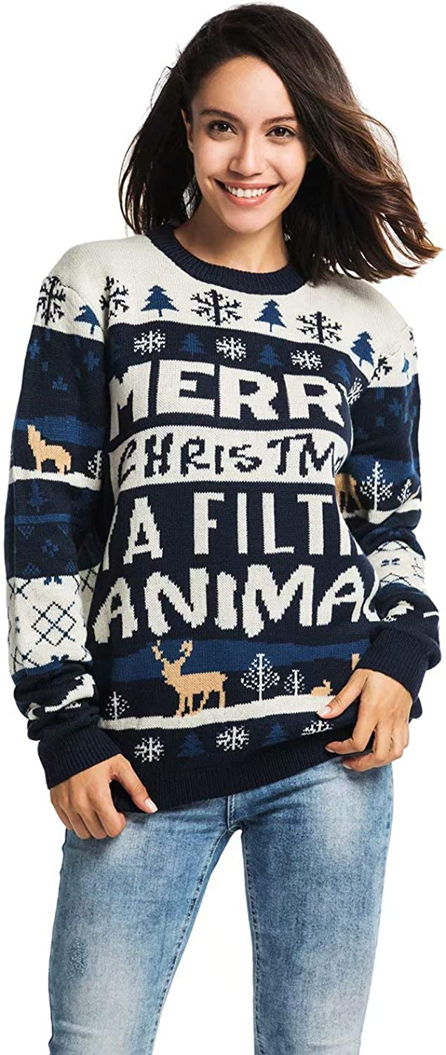 Unisex Men's Knit Christmas Ugly Sweater Funny Fair Isle Pullover with Rude Slogan - Home Alone Holiday Hijinks, X-Large