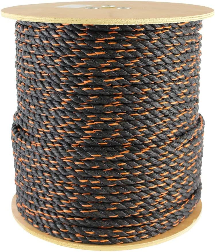 Twisted Polypropylene Rope for Cargo Straps Boating and More SGT KNOTS California Truck Rope 3//8 x 600ft, Black /& Orange
