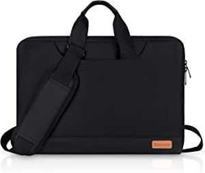 15.6 Inch Laptop Sleeve, Simboom Laptop Messenger Bag with Accessories Organizer Pouch, Waterproof Shoock-Proof Protective Case Compatible with 15.6 inch Dell Acer Asus Hp Lenovo - Black