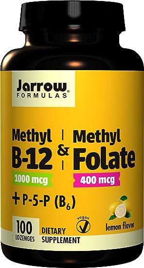 Jarrow Formulas Methyl B-12 & Methyl Folate, 400Mcg Lemon ...