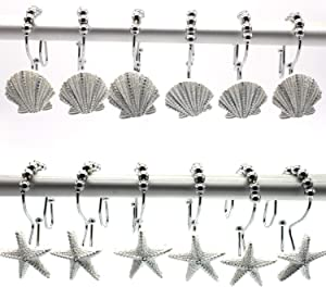 FINROS 12 PCS Double-Hook Stainless Steel Shower Rings Decorative Home Bathroom Seashell Shower Curtain Hooks