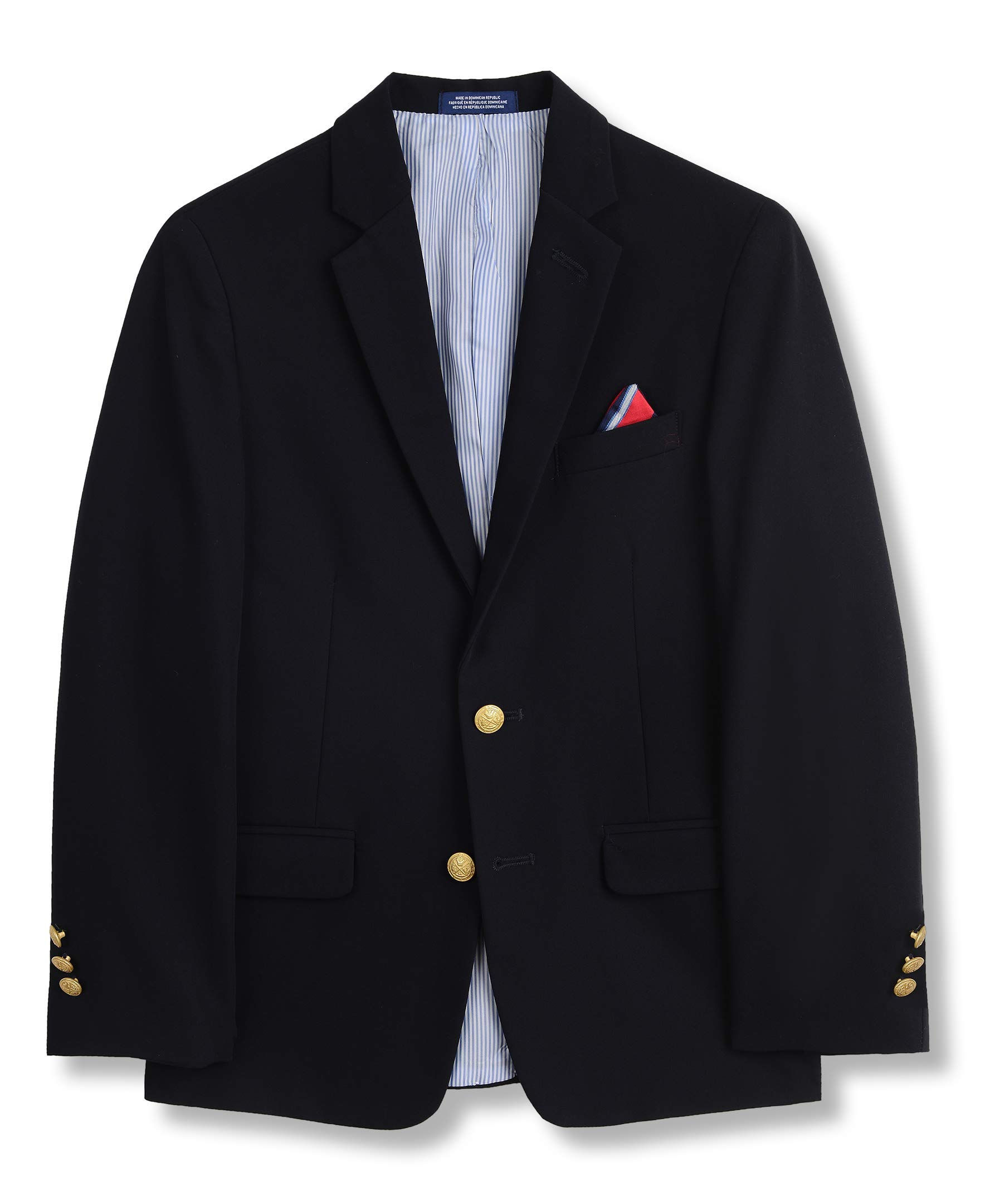 IZOD Boys' Husky Brass Button Blazer Jacket, Blue Indigo, 12