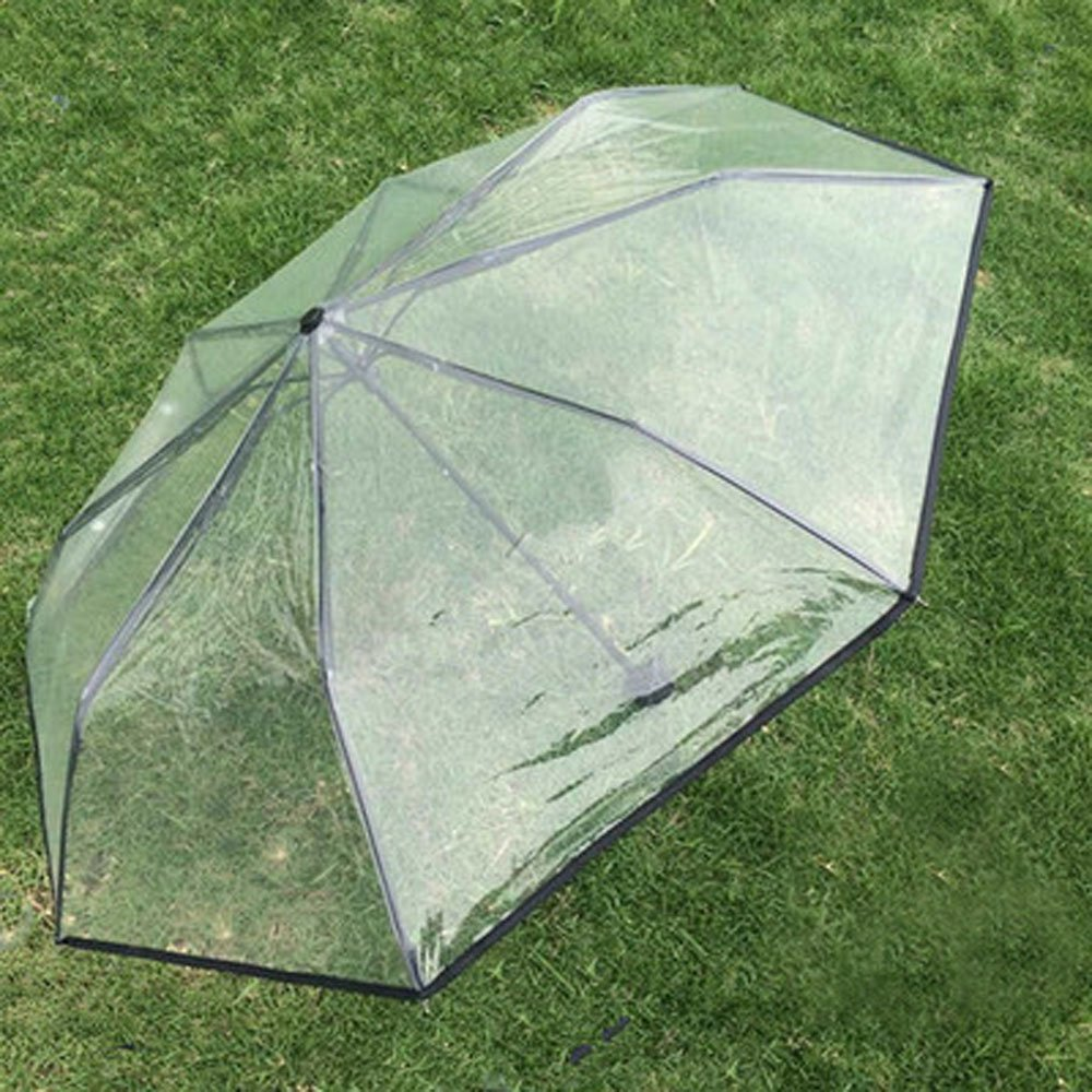 Amazon.com : Clear Transparent Folding Auto Open/Close Umbrella w Reinforced Steel Ribs (auto-Black rim) : Sports & Outdoors