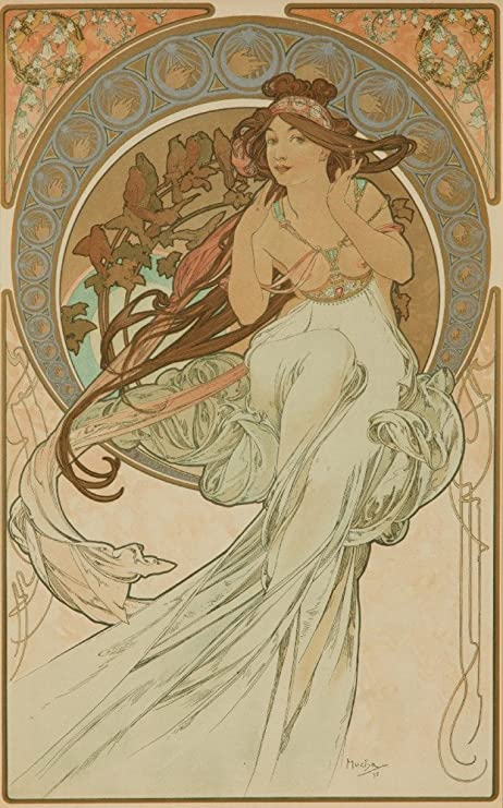 1898 flirt Alphonse Mucha art nouveau poster interior wall art decor