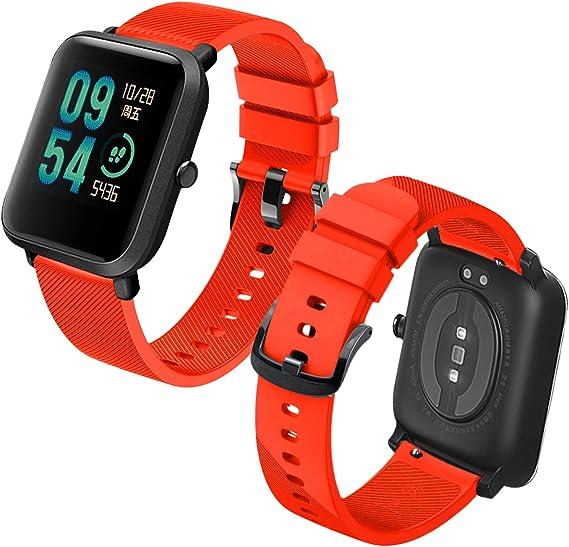 Imagen deTh-some Correa para Amazfit Bip Impermeable Universal - Reemplazo de Pulsera Ajustable para Xiaomi Huami Amazfit Bip bit Lite Youth/Amazfit GTR 42mm Watch, Naranja Sin Tracker