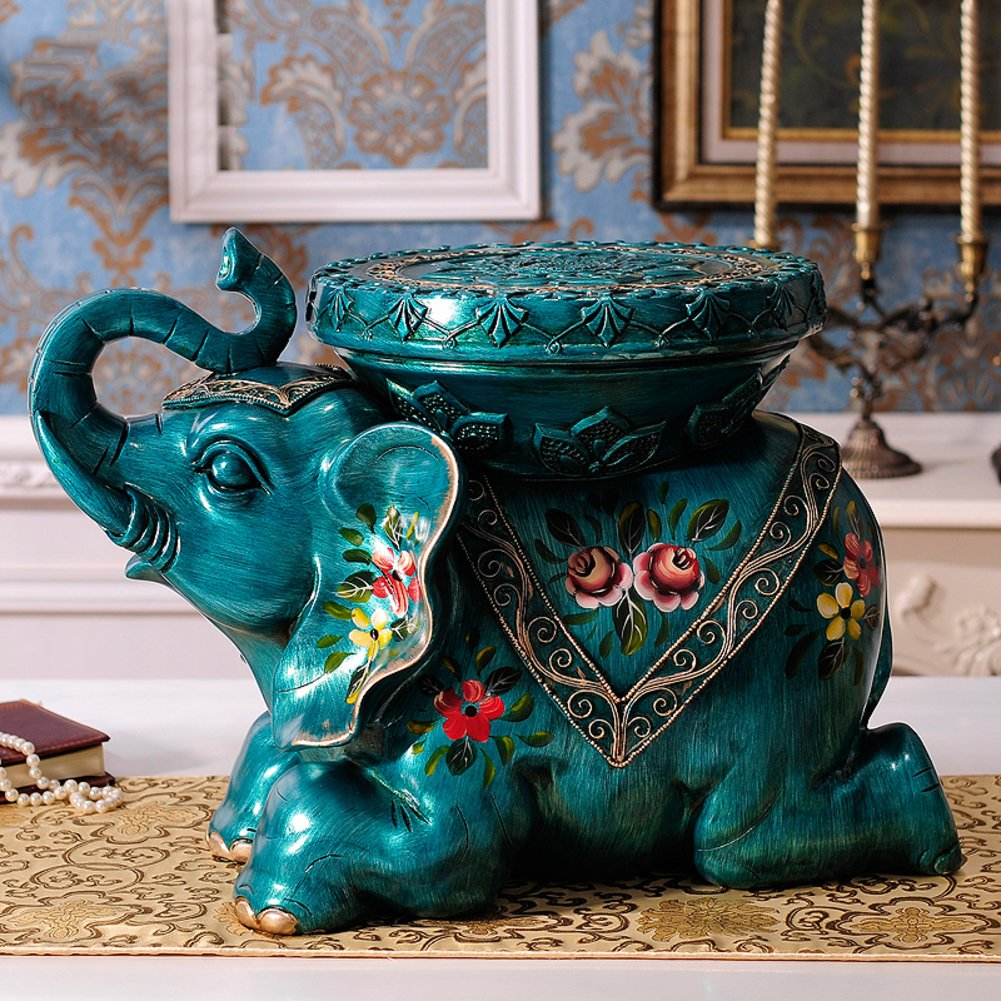 Footstool Thai style elephant for shoes stool Home decorations Shelves Gift decoration Resin by Visual Taste