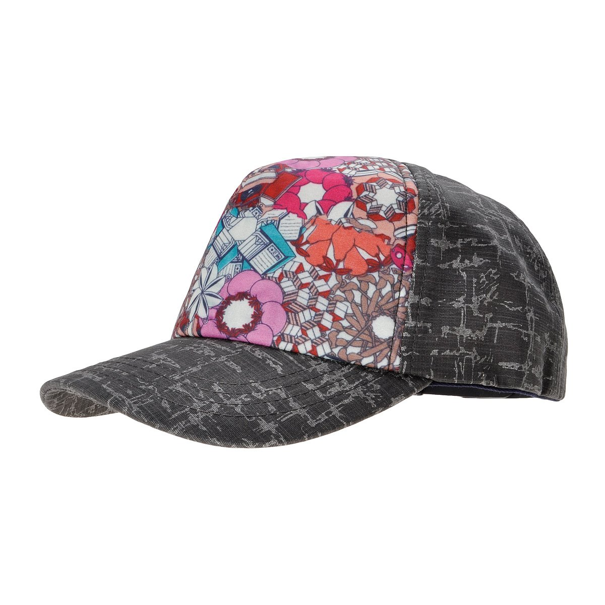 ZLYC Women's Tow-Tone Floral Texture Pattern Baseball Adjustable Hat Cap Blue ZYJ-MZ-125-BL
