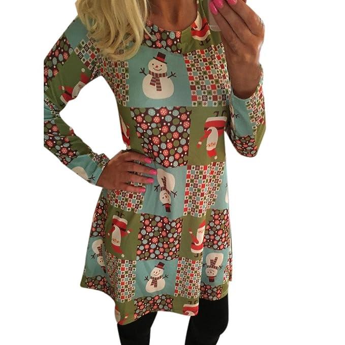 Vestidos Invierno Mujer,☆Yusealia Vestidos Mujer Otoño,Vestidos Mujer Navidad, Impresión de