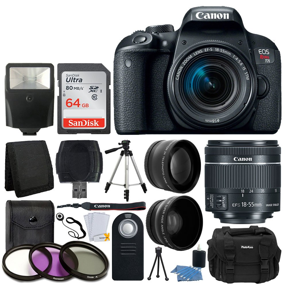 Canon EOS Rebel T7i 24.2MP Digital SLR Camera + EF-S 18-55mm f/4-5.6 is STM Lens + 64GB Memory Card + Wide Angle & Telephoto Lens + UV Filter Kit + DC59 Gadget Bag + Quality Tripod + Valued Bundle by Canon