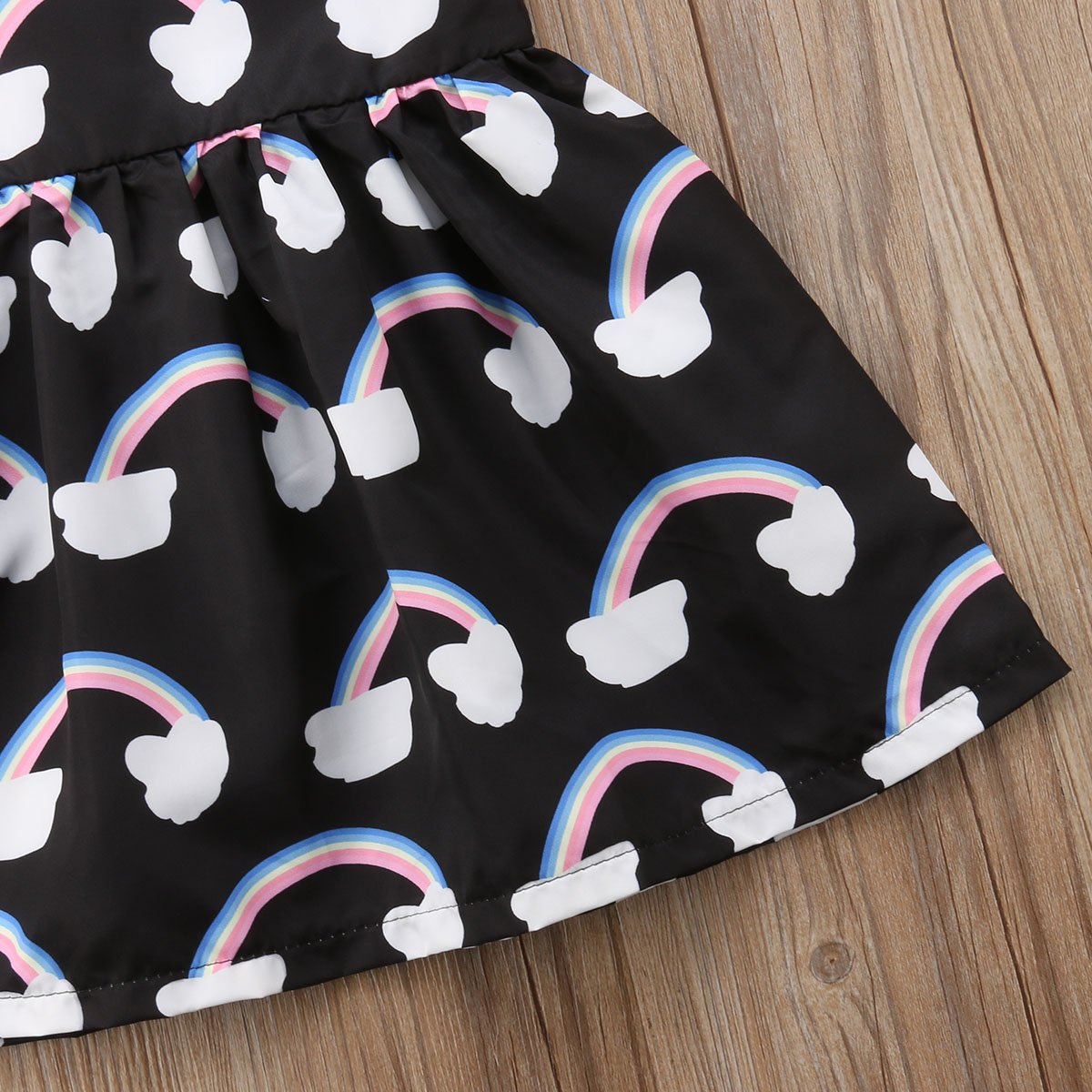 Cute Rainbow Cloud Print Sleeveless Sundress Summer Outfits Do co-sport Fashion Halter Dress for Baby Girls Kids