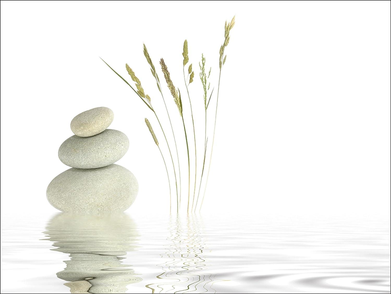 Artland Qualitätsbilder I Glasbilder Deko Deko Deko Glas Bilder 50 x 100 cm Wellness Zen Stein Foto Weiß A6GT Zen Friede 403d40
