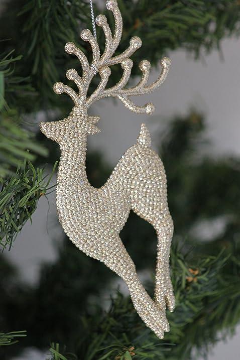 Gorgeous Gisela Graham Gold glittery reindeer Christmas Tree Decoration  (prancing) - Amazon.com: Gorgeous Gisela Graham Gold Glittery Reindeer Christmas