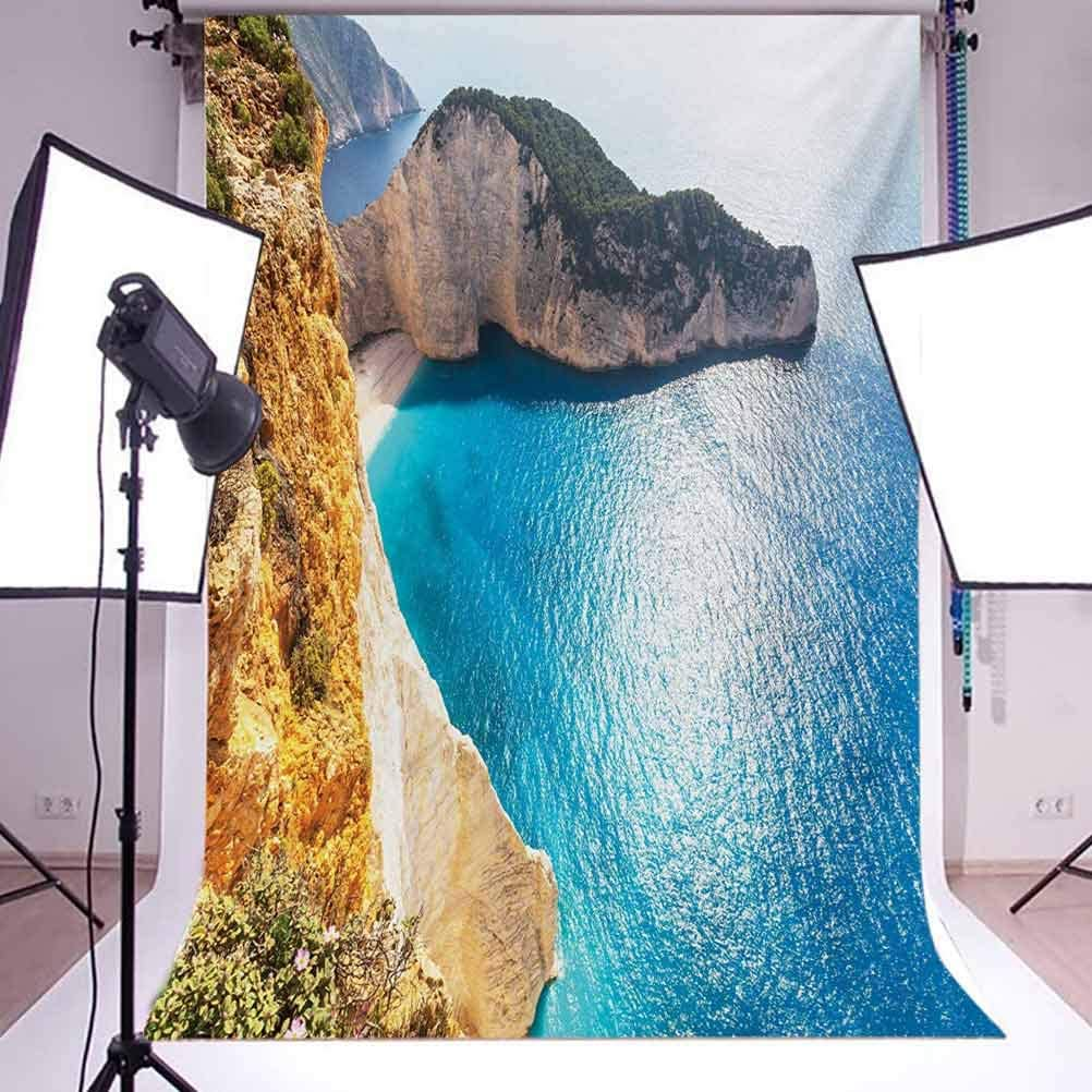 Greece 10x15 FT Photography Backdrop Idyllic and Tranquil Sea Landscapes on Zakynthos Island Coastline Wanderlust Picture Background for Baby Birthday Party Wedding Vinyl Studio Props Photography