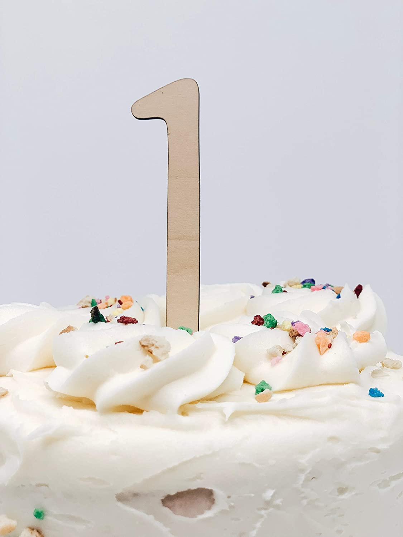 Enjoyable Amazon Com Number One Smash Cake Cupcake Wood Topper For Birthday Personalised Birthday Cards Akebfashionlily Jamesorg
